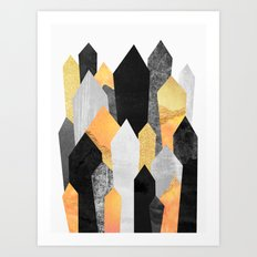 Black & Yellow Crystals Art Print