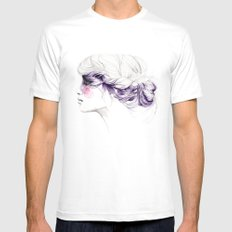 Purple White SMALL Mens Fitted Tee
