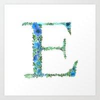 Floral Monogram Letter E Art Print