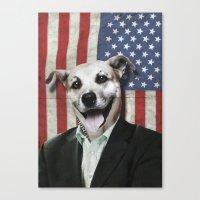 Patriotic Dog   USA Canvas Print