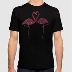 Flamingos Black Mens Fitted Tee SMALL