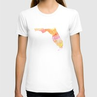 Typographic Florida - orange watercolor Womens Fitted Tee White SMALL