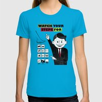 Watch Your Steps For Womens Fitted Tee Teal SMALL