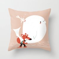 Fox and Whale Throw Pillow