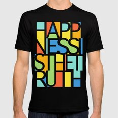 Happiness Black Mens Fitted Tee SMALL