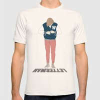 Letterman Mens Fitted Tee Natural SMALL