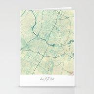Austin Map Blue Vintage Stationery Cards