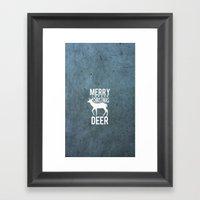 Merry Christmas Deer Textured  Framed Art Print