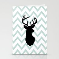 Chevron Deer Silhouette Stationery Cards