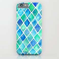 Hand Painted Cobalt Blue & Emerald Green Watercolor Pattern Slim Case iPhone 6s