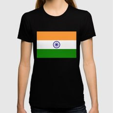 Flag of India - Authentic High Quality Image Womens Fitted Tee Black SMALL