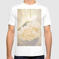 White Hydrangea White Mens Fitted Tee SMALL