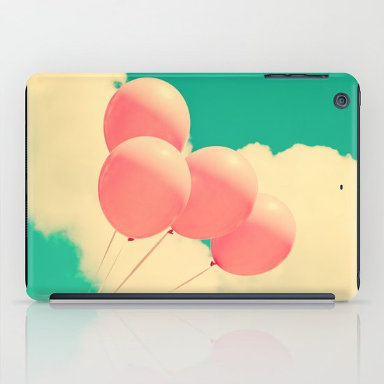Happy Pink Balloons on retro blue sky  iPad Case