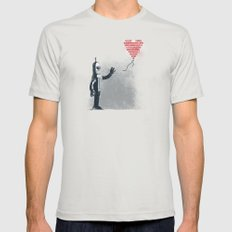 Binary Art Mens Fitted Tee Silver SMALL