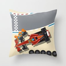 Race car in pit stop Throw Pillow
