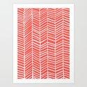 Coral Herringbone Art Print