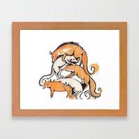 Fox Pile Framed Art Print