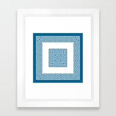 Greek Key blue Framed Art Print