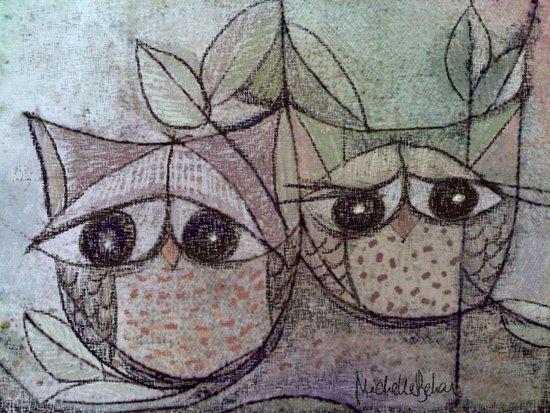 Owl couple Canvas Print