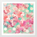 Romantic Pink Retro Floral Pattern Teal Polka Dots  Art Print