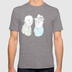 News Reporters Staring Contest Mens Fitted Tee Tri-Grey SMALL