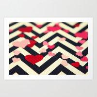 Chevron And Hearts Art Print