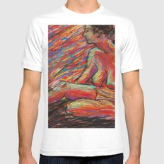 Hypatia on Fire SMALL Mens Fitted Tee White
