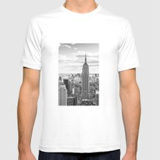 New York Skyline White SMALL Mens Fitted Tee