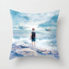 Waiting at the water's edge Throw Pillow