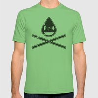 Cross-Staw Distressed Mens Fitted Tee Grass SMALL