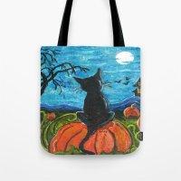 Cat In Pumpkin Patch Tote Bag