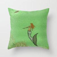 The Golden Mermaid Throw Pillow