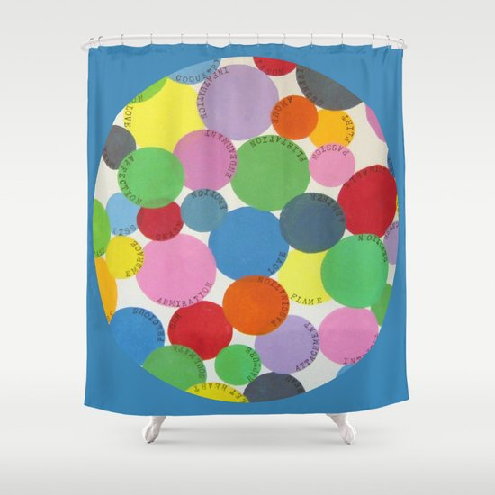Word Bubbles Blue Shower Curtain