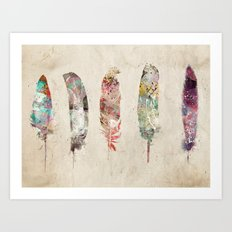 pop art feathers Art Print