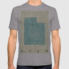 Utah State Map Blue Vintage Mens Fitted Tee Athletic Grey SMALL