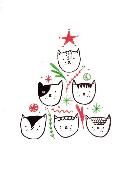 Cat Christmas Canvas Print