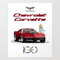 Corvette & Blonde Art Print