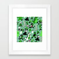 Monster March (Green) Framed Art Print
