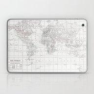 World Map ~ White On Whi… Laptop & iPad Skin