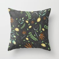 Floral Grey Pattern Throw Pillow