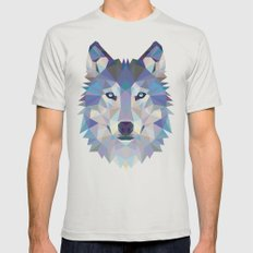 wolf Mens Fitted Tee Silver SMALL