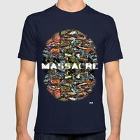 MASSACRE Mens Fitted Tee Navy SMALL