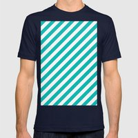 Diagonal Stripes (Tiffany Blue/White) Mens Fitted Tee Navy SMALL