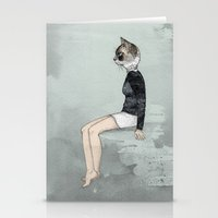 woman Stationery Cards featuring Cat Woman by Sandra Dieckmann