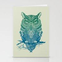 Warrior Owl Stationery Cards