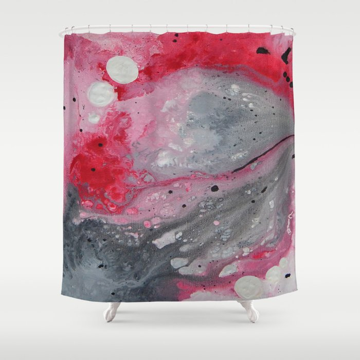 Red Black And White Abstract Art By Saribelle Shower Curtain By Saribelle Inspirational Art