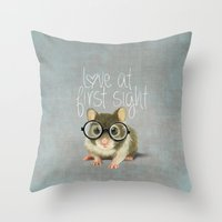 A Small Mouse With Glass… Throw Pillow
