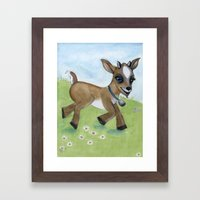 Alfie the Goat, a barnyard animal portrait Framed Art Print