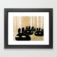 Suspicious Bunnies Framed Art Print