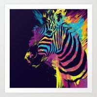 zebra Art Prints featuring Zebra Splatters by Olechka
